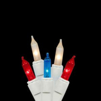 100-Light Red Clear Frosted and Blue Patriotic 4th of July Mini Lights Set with White Wire-28380741 207006719
