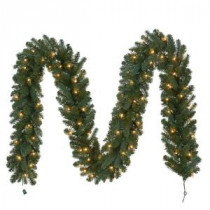 12 ft. Pre-Lit Fairwood Garland x 340 Tips with 100 UL Indoor/Outdoor Clear Lights-GTC0P3A01C00 206795380