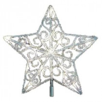 12 in. 18-Light LED Silver Acrylic Five Star Tree Topper-TF06-1W012-A 202938560