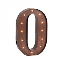 "12 in. H ""O"" Rustic Brown Metal LED Lighted Letter-92669O 206625113"