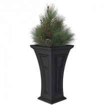 16 in. x 28 in. Black Polyethylene Plastic Heritage Planter with Artificial Pine Needle Holiday Arrangement-HPCA3000B 205613678