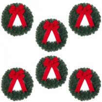 20 in. Noble Pine Artificial Wreath with Red Bow (Pack of 6)-2109940HDX6 205203591