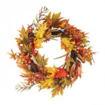 24 in. Fall Leaf and Berry Artificial Wreath-2207750 206498748