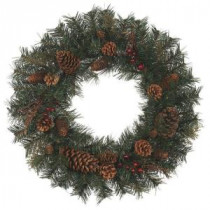 24 in. Natural Pine Artificial Wreath (Pack of 6)-1659064HDX6 205203566