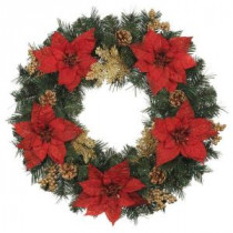 24 in. Silk Poinsettia Artificial Wreath with Gold Fern Sprigs and Pinecones (Pack of 6)-2109500HDX6 205203569