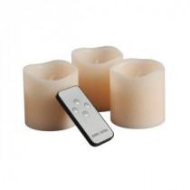 3 in. H Battery Operated Wavy Edge Wax LED Candle Set with Remote (3-Piece)-37845 206504432