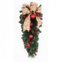 32 in. Battery Operated Holiday Burlap Artificial Teardrop with 35 Clear LED Lights-BOWOTHD153E 205983481