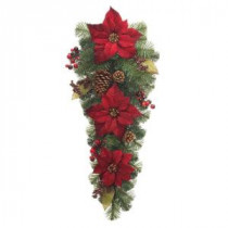32 in. Unlit Burgundy Poinsettia Artificial Teardrop-2258480HD 206005411