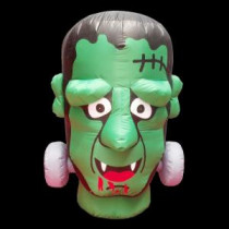 36 in. W x 36 in. D x 48 in. H Inflatable Halloween Monster Head with Disco Lights and LED Eyes-GTH00054-4C 206869149