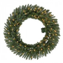 36 in. Pre-Lit B/O LED New Meadow Artificial Christmas Wreath x 341 Tips with 80 Warm White Lights and Timer-GD30P2581L00 206795459