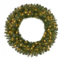 36 in. Pre-Lit LED Wesley Pine Artificial Christmas Wreath x 250 Tips with 100 UL Indoor/Outdoor Warm White Lights-GD30M2L46L01 206795419