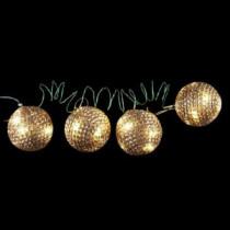 4 in. 36-Light LED Gold Tinsel Wire Ornaments (4-Pieces)-NL11-1WY036-A 202938540