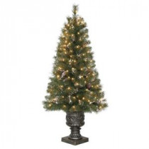 4.5 ft. Alpine Potted Artificial Christmas Tree with Pinecones and Glitter and 150 Clear Lights-TV46M3U17C00 205152715