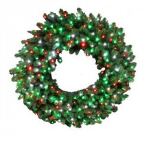 48 in. LED Pre-Lit Artificial Christmas Wreath with Micro-Style Red, Green and Pure White Lights-4723173-C29HO 206771122