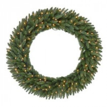 48 in. Pre-Lit B/O LED New Meadow Artificial Christmas Wreath x 520 Tips with 120 Warm White LED Lights and Timer-GD40P2581L00 206795460