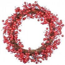 48-Light LED Red 24 in. Battery Operated Berry Wreath with Timer-WL10-1R024-A1 202938547