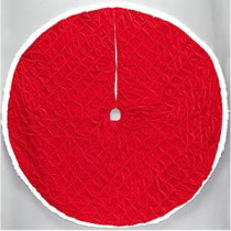 56 in. Red Pintucked Velvet Christmas Tree Skirt-2564899-1HC 205983472