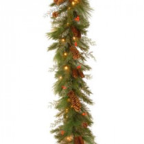 6 ft. White Pine Garland with Battery Operated Warm White and Red LED Lights-DC13-116-6B/B-1 300330521