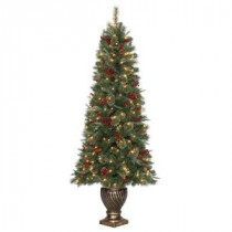 6.5 ft. Hayden Pine Potted Artificial Christmas Tree with 200 Clear Lights-TG66P4457C00 205152710