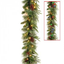 9 ft. Colonial Garland with Battery Operated Dual Color LED Lights-PECO7-395D-9AB 300330528