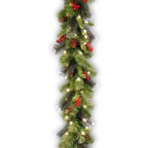 9 ft. Crestwood Spruce Garland with Clear Lights-CW7-306-9A-1 300330617