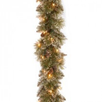 9 ft. Glittery Bristle Pine Garland with Clear Lights-GB3-300-9A-1 300330618