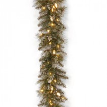9 ft. Glittery Bristle Pine Garland with Warm White LED Lights-GB3-319-9A-1 300330621