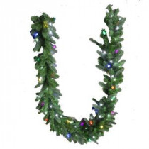 9 ft. LED Pre-Lit Branch Garland with Micro-Style Pure White and C6 Multi-Color Lights-4824106-30HO 206771082