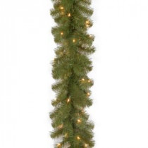 9 ft. North Valley Spruce Garland with Clear Lights-NRV7-302-9A-1 300330529