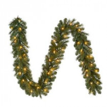 9 ft. Pre-Lit LED Wesley Pine Garland x 170 Tips with 60 UL Plug-In Indoor/Outdoor Warm White Lights-GT90M2L46L03 206795417