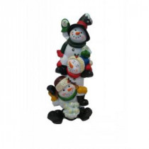 Alpine 13 in. 3 Snowmen Statuary with Color Changing LED Lights-ZEN212S 207140375