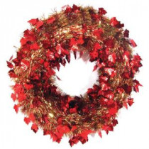 Brite Star 20 in. Autumn Ochre Die-Cut Tinsel Artificial Wreath-96-310-00 205116226