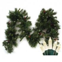 Brite Star 9 ft. Pre-Lit LED Battery Operated Anchorage Fir Garland with Timer-74-285-00 203613657