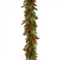 Classical Collection 9 ft. Mixed Evergreen Tip Garland with Clear Lights-PECC3-300-9B-1 300330524