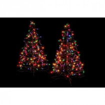 Crab Pot Trees 3 ft. Pre-Lit Incandescent Fold Flat Outdoor-Indoor Artificial Christmas Trees with 160 Multi-Color Lights (2-Pack)-FFT-2PK-G3M 206685578