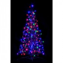 Crab Pot Trees 4 ft. Pre-Lit LED Fold Flat Outdoor/Indoor Artificial Christmas Tree with 160 Multi-Color Lights-FFT-G4M-LED 206685552