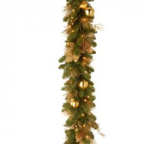 Decorative Collection 6 ft. Elegance Garland with Battery Operated Warm White LED Lights-DC13-109-6B/B 300330615