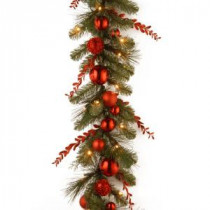 Decorative Collection 9 ft. Christmas Red Mixed Garland with Battery Operated Warm White LED Lights-DC13-159-9BB-1 300330495