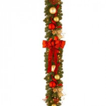 Decorative Collection 9 ft. Cozy Christmas Garland with Red and Clear Lights-DC13-104L-9B 300330613