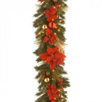 Decorative Collection 9 ft. Home Spun Garland with Clear Lights-DC13-111L-9B 300330531