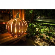 Desert Steel 14 in. x 15 in. Orange Powder Coated Squatty Pumpkin Luminary-411-050 205440166
