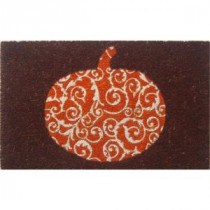 Entryways Scrolled Pumpkin 17 in. x 28 in. Non-Slip Coir Door Mat-P2038 205850036