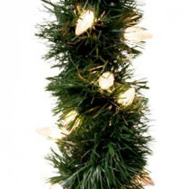 GE 18 ft. Holiday Classics Artificial Garland with 50 C6 Clear Lights-85206HD 203267270