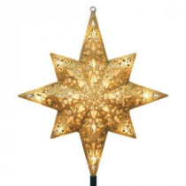 GE Holiday Classics 11 in. 16-Light Gold Glittered Bethlehem Star Tree Top-71075HD 206951258