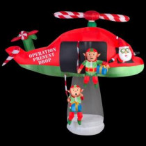 Gemmy 114.17 in. D x 57.09 in. W x 96.85 in. H Animated Inflatable Santa and Elves in Helicopter Scene-39426 206997639