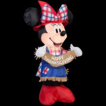 Gemmy 24.41 in. W x 18.90 in. D x 42.13 in. H Inflatable Minnie as Scarecrow-70444 207107594