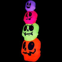 Gemmy 32.68 in. W x 32.68 in. D x 96.06 in. H Inflatable Neon Skulls Stack-64639X 205469601