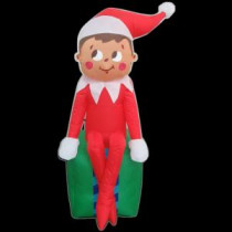 Gemmy 3.5 ft. LED Inflatable Elf on Present-35847 205080992
