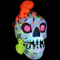 Gemmy 45.28 in. W x 48.03 in. D x 72.05 in. H Inflatable Light Show Skull with Spiders - Kaleidoscope-51917X 205469571