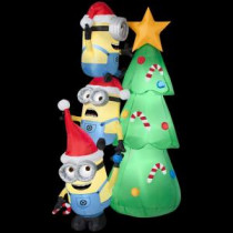 Gemmy 45.52 in. W x 31.10 in. D x 72.05 in. H Inflatable-Minions Decorating Tree Scene-38292 206137734